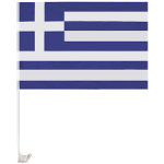 Greek car flag with plastic pole