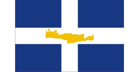 Greek flag with the island of Crete