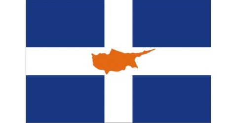 Greek flag with the island of Cyprus