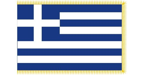 Greek car flag with fringe