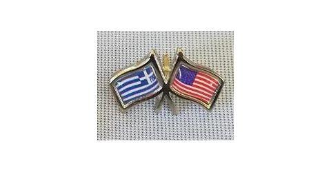 Σήμα πέτου με σημαίες Ελληνική και των Η.Π.Α.
