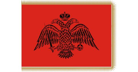 Byzantine flag with fringes (red)